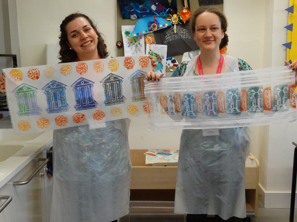Fran-and-Alannah-completed-banners-at-print-making-workshop-Brilliant-Banners-with-artist-Linn-O-Carroll